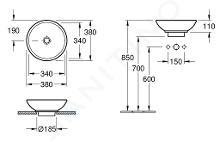 Villeroy & Boch Loop&Friends - Opzetwastafel zonder gat, diameter 380 mm, wastafel - wit, zonder overloop 51480101
