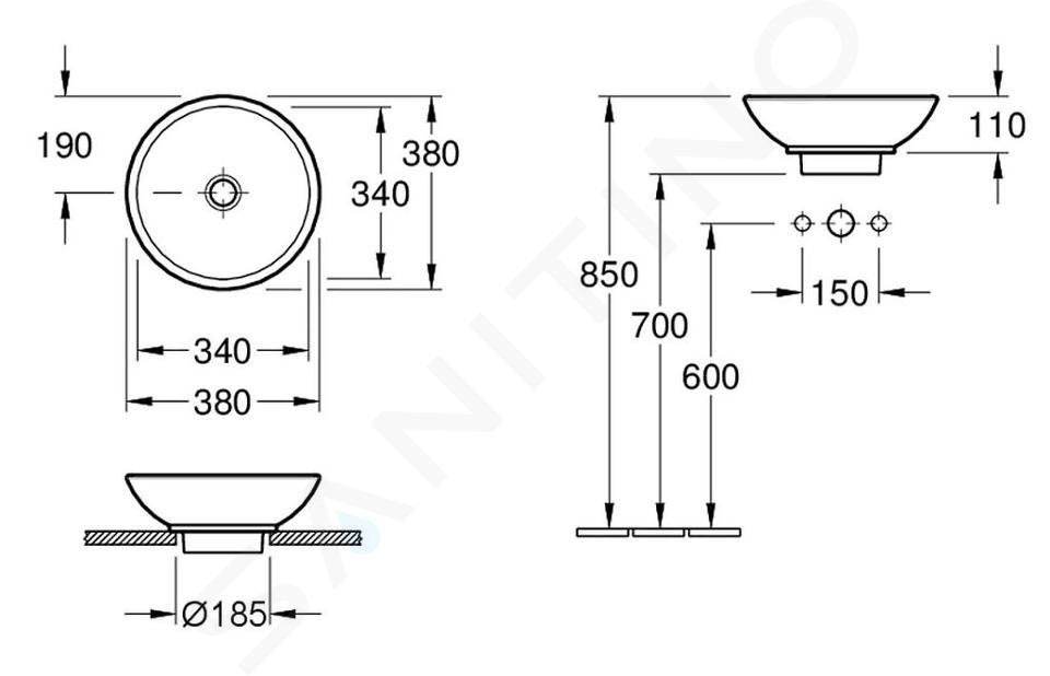 Villeroy & Boch Loop&Friends - Lavabo senza foro, da appoggio, diametro 380 mm, bianco - lavabo, senza troppopieno, con Ceramicplus 514801R1