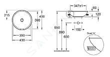 Villeroy & Boch Loop&Friends - Vasque semi-encastrée, diamètre 430 mm, avec trop-plein, sans trou pour robinetterie, blanc alpin 41140001