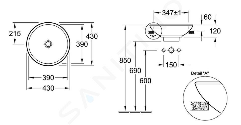 Villeroy & Boch Loop&Friends - Semi-inbouw wastafel, diameter 430 mm, met overloop, zonder kraangat, CeramicPlus, alpine wit 411400R1