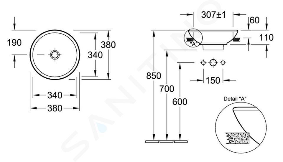 Villeroy & Boch Loop&Friends - Vorbauwaschtisch, Durschschnitt 380 mm, ohne Überlauf, mit Hahnloch, CeramicPlus, Alpinweiß 411800R1