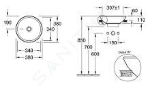 Villeroy & Boch Loop&Friends - Vorbauwaschtisch, Durschschnitt 380 mm, ohne Überlauf, mit Hahnloch, CeramicPlus, Alpinweiß 411801R1
