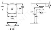 Villeroy & Boch Loop&Friends - Opzetwastafel, 430x430 mm, met overloop, zonder kraangat, CeramicPlus, alpine wit 514910R1