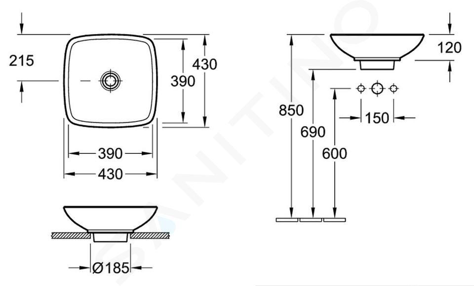 Villeroy & Boch Loop&Friends - Opzetwastafel, 430x430 mm, zonder overloop, zonder kraangat, CeramicPlus, alpine wit 514911R1