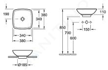 Villeroy & Boch Loop&Friends - Opzetwastafel, 380x380 mm, met overloop, zonder kraangat, CeramicPlus, alpine wit 514900R1