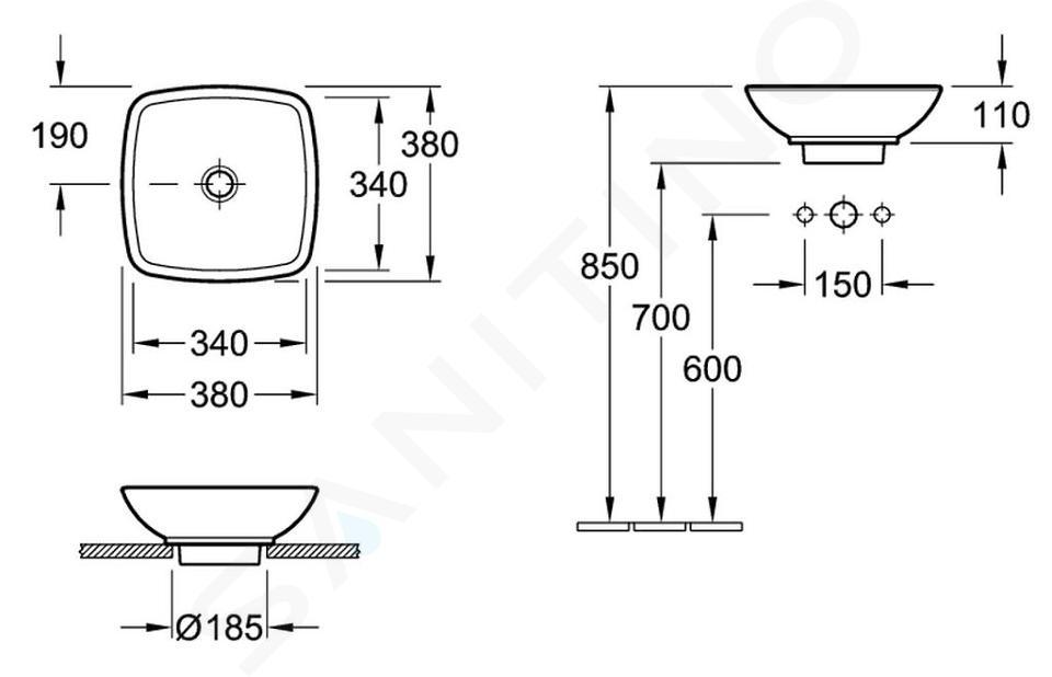 Villeroy & Boch Loop&Friends - Opzetwastafel, 380x380 mm, zonder overloop, zonder kraangat, CeramicPlus, alpine wit 514901R1