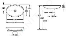Villeroy & Boch Loop&Friends - Opzetwastafel, 630x430 mm, met overloop, zonder kraangat, CeramicPlus, alpine wit 515110R1