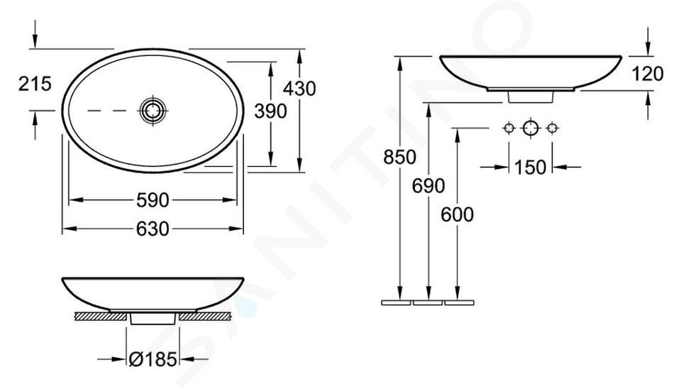 Villeroy & Boch Loop&Friends - Opzetwastafel, 630x430 mm, zonder overloop, zonder kraangat, CeramicPlus, alpine wit 515111R1