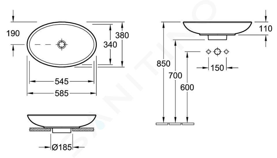 Villeroy & Boch Loop&Friends - Aufsatzwaschbecken, 585x380 mm, ohne Überlauf, ohne Hahnloch, CermaicPlus, Alpinweiß 515101R1