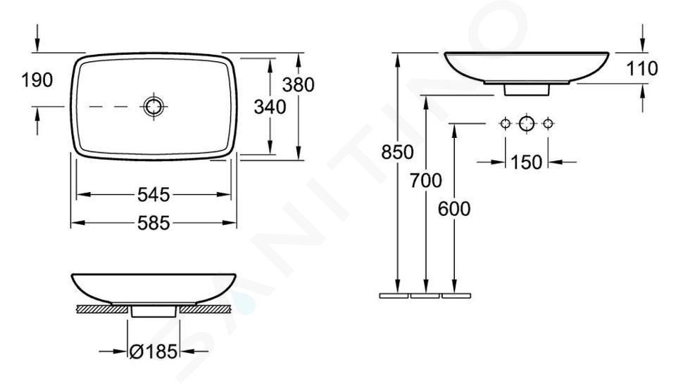 Villeroy & Boch Loop&Friends - Opzetwastafel, 585x380 mm, met overloop, zonder kraangat, CeramicPlus, alpine wit 515400R1