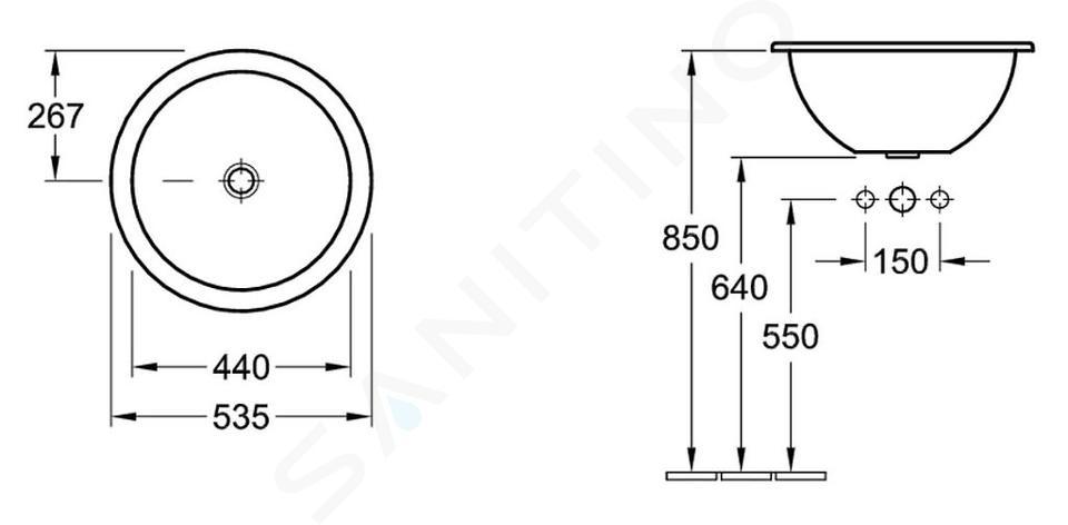 Villeroy & Boch Loop&Friends - Wastafel met overloop zonder kraangat, diameter 535 mm, wastafel - wit 61405101