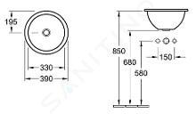 Villeroy & Boch Loop&Friends - Einbauwaschbecken, Durchschnitt 390 mm, mit Überlauf, ohne Hahnloch, CeramicPlus, Weiß 614039R1