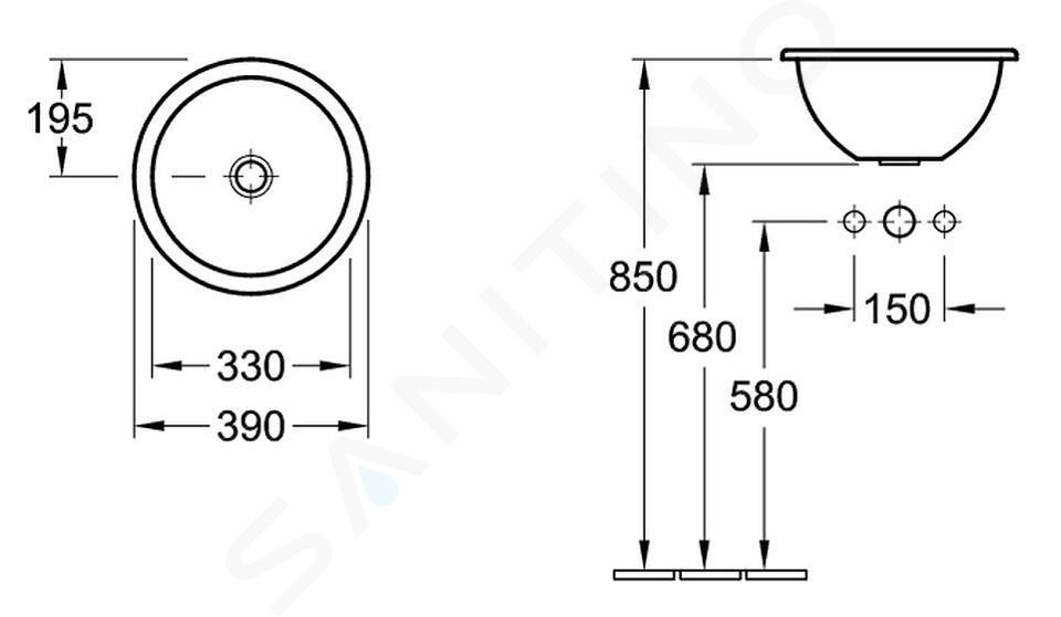 Villeroy & Boch Loop&Friends - Inbouw wastafel, diameter 390 mm, met overloop, zonder kraangat, CeramicPlus, alpine wit 614039R1