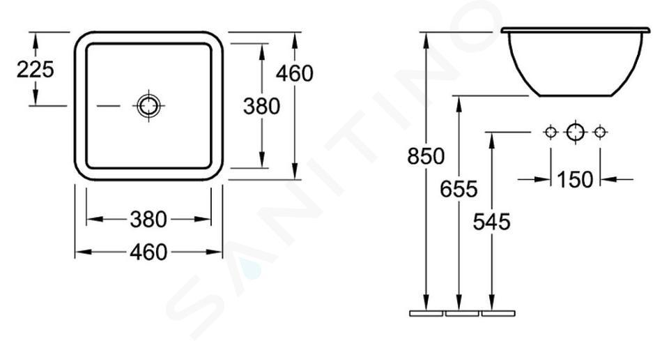 Villeroy & Boch Loop&Friends - Wastafel zonder kraangat, 450 mm x 450 mm, wastafel - wit, met overloop, met Ceramicplus 615620R1