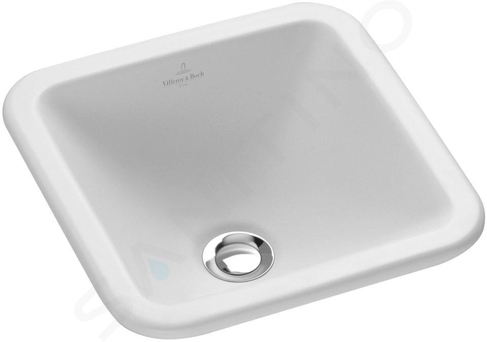 Villeroy & Boch Loop&Friends - Lavabo senza foro, 450 mm x 450 mm, bianco - lavabo, con troppopieno, con Ceramicplus 615620R1