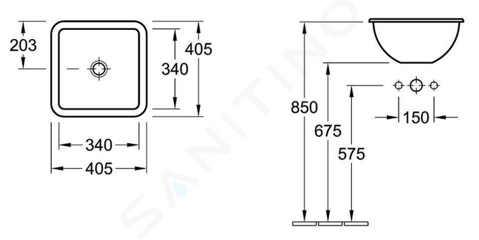 Villeroy & Boch Loop&Friends - Waschbecken ohne Hahnloch, 405 x 405 mm, Weiß, mit Überlauf, mit Ceramicplus 615610R1