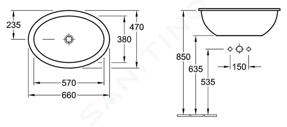 Villeroy & Boch Loop&Friends - Waschbecken ohne Hahnloch, 660 x 470 mm, Weiß, mit Überlauf 61553001