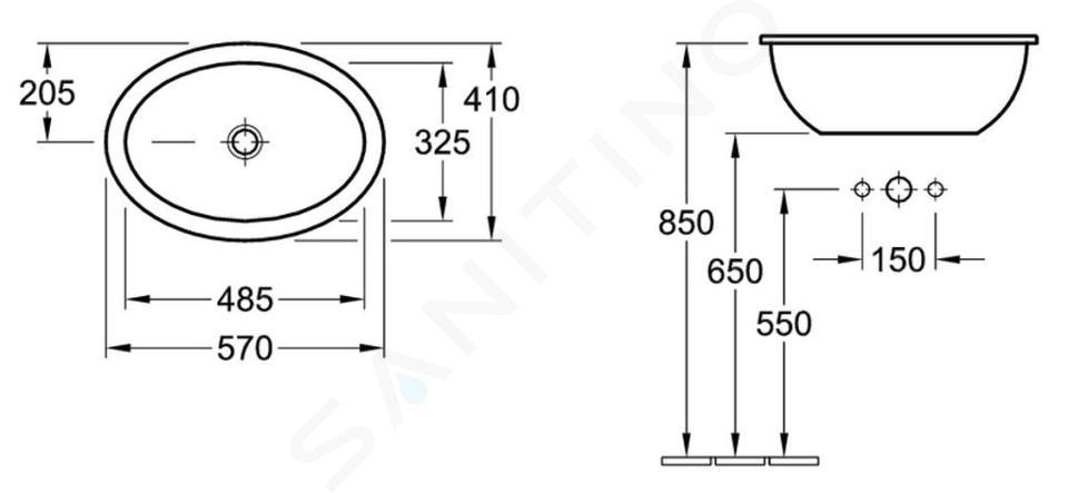 Villeroy & Boch Loop&Friends - Wastafel met overloop zonder kraangat, 570 mm x 410 mm, met Ceramicplus, wit 615520R1