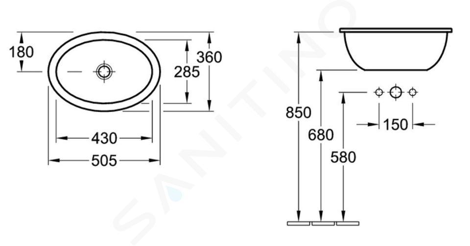Villeroy & Boch Loop&Friends - Wastafel met overloop zonder kraangat, 500 mm x 360 mm, met Ceramicplus, wit 615510R1