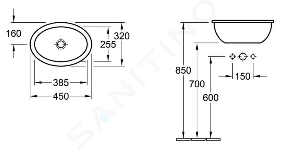 Villeroy & Boch Loop&Friends - Wastafel met overloop zonder kraangat, 450 mm x 320 mm, wit 61550001