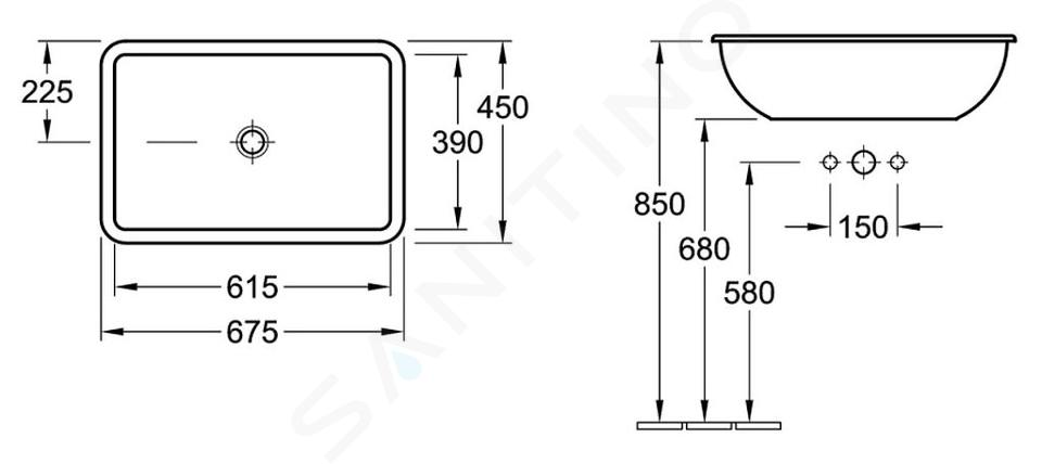 Villeroy & Boch Loop&Friends - Waschbecken ohne Hahnloch, 675 x 470 mm, Weiß, mit Überlauf 61452001