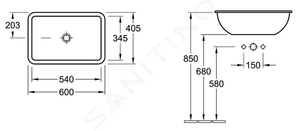Villeroy & Boch Loop&Friends - Waschbecken ohne Hahnloch, 600 x 405 mm, Weiß, mit Überlauf 61450001