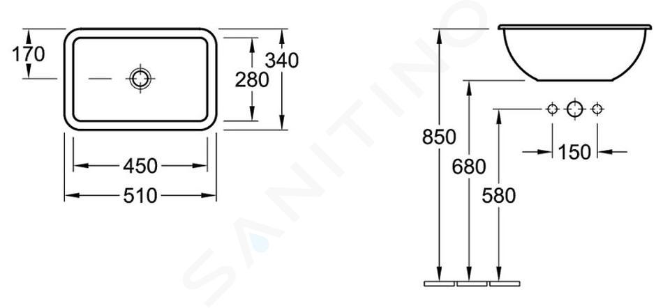 Villeroy & Boch Loop&Friends - Waschbecken ohne Hahnloch, 510 x 340 mm, Weiß, mit Überlauf, mit Ceramicplus 614510R1