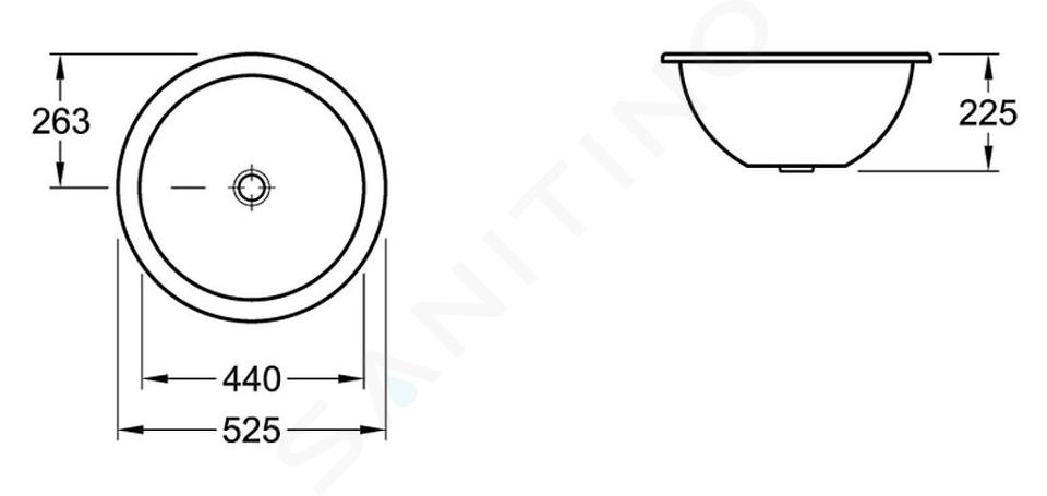 Villeroy & Boch Loop&Friends - Onderbouw wastafel zonder kraangat, diameter 440 mm, wastafel - wit, met overloop, met Ceramicplus 618043R1