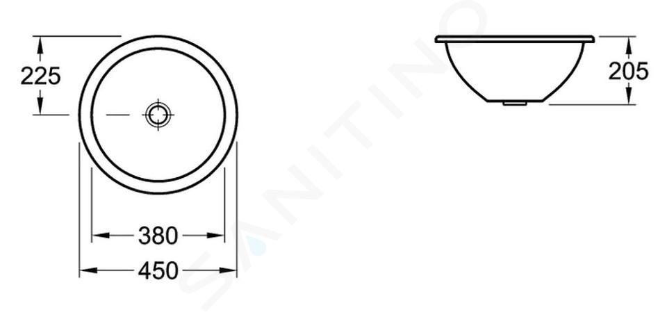 Villeroy & Boch Loop&Friends - Unterbauwaschtish, ohne Hahnloch, Durchschnitt 380 mm, Weiß, mit Überlauf, mit Ceramicplus 618038R1