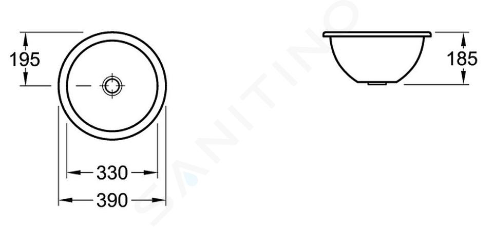 Villeroy & Boch Loop&Friends - Unterbauwaschtish, ohne Hahnloch, Durchschnitt 330 mm, Weiß, ohne Überlauf, mit Ceramicplus 618133R1