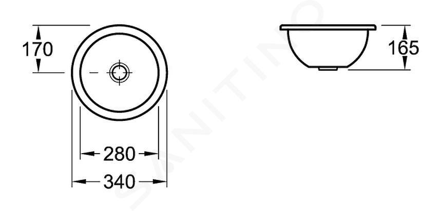 Villeroy & Boch Loop&Friends - Onderbouw wastafel, diameter 280 mm, zonder overloop, Ceramicplus, wit 618128R1