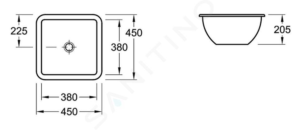Villeroy & Boch Loop&Friends - Unterbauwaschtish, ohne Hahnloch, 380 mm x 380 mm, Weiß, mit Überlauf, mit Ceramicplus 616220R1