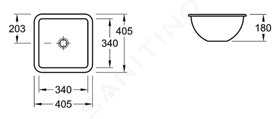 Villeroy & Boch Loop&Friends - Unterbauwaschtish, ohne Hahnloch, 340 mm x 340 mm, Weiß, mit Überlauf 61621001