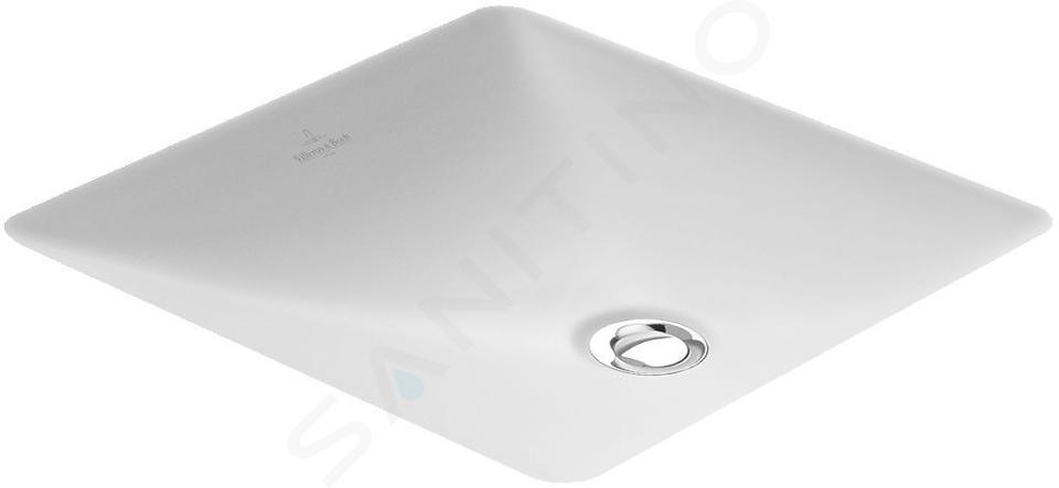 Villeroy & Boch Loop&Friends - Onderbouw wastafel zonder kraangat, 340 mm x 340 mm, wastafel - wit, met overloop, met Ceramicplus 616210R1