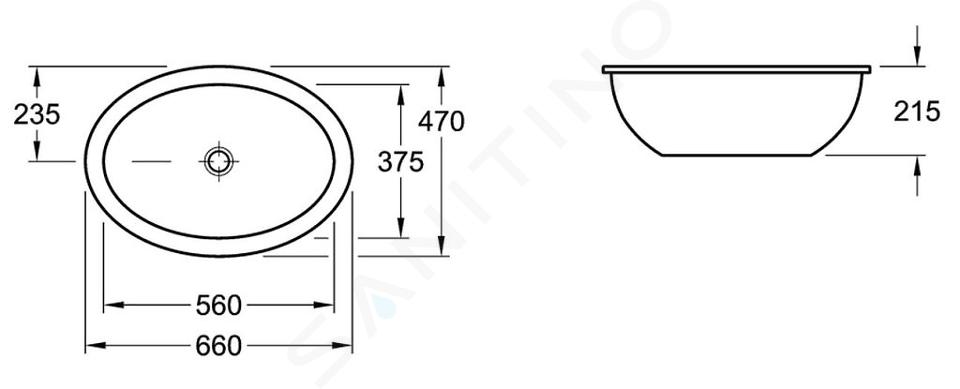 Villeroy & Boch Loop&Friends - Onderbouw wastafel zonder kraangat, 560 mm x 375 mm, wastafel - wit, met overloop, met Ceramicplus 616130R1