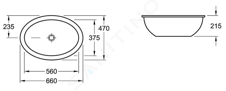 Villeroy & Boch Loop&Friends - Unterbauwaschtish, ohne Hahnloch, 560 mm x 375 mm, Weiß, ohne Überlauf, mit Ceramicplus 616131R1