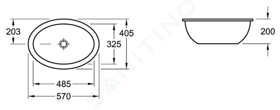 Villeroy & Boch Loop&Friends - Unterbauwaschtish, ohne Hahnloch, 485 mm x 325 mm, Weiß, ohne Überlauf, mit Ceramicplus 616121R1