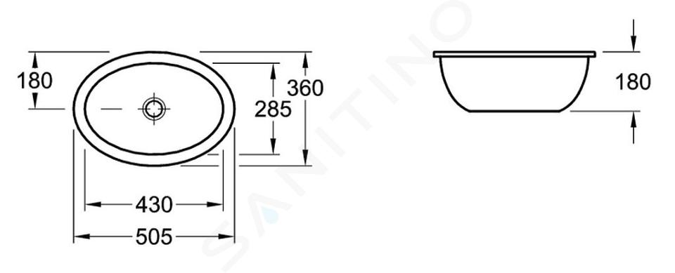 Villeroy & Boch Loop&Friends - Onderbouw wastafel 430x285 mm, met overloop, zonder kraangat, CeramicPlus, alpine wit 616110R1