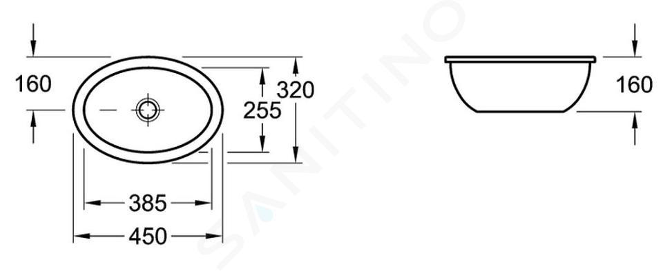 Villeroy & Boch Loop&Friends - Unterbauwaschtisch 385x255 mm, ohne Überlauf, ohne Hahnloch, CeramicPlus, Alpinweiß 616100R1