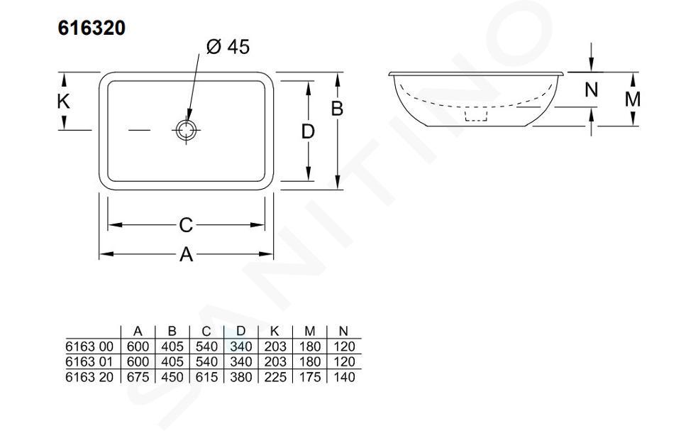 Villeroy & Boch Loop&Friends - Unterbauwaschtisch 615x380 mm, mit Überlauf, ohne Hahnloch, CeramicPlus, Alpinweiß 616320R1