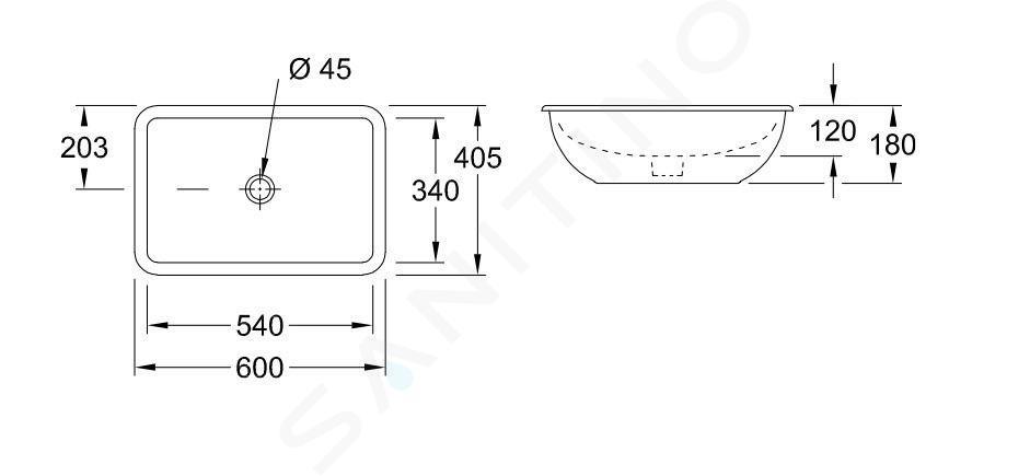 Villeroy & Boch Loop&Friends - Onderbouw wastafel 540x340 mm, met overloop, zonder kraangat, CeramicPlus, alpine wit 616300R1