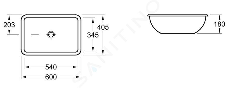 Villeroy & Boch Loop&Friends - Onderbouw wastafel 540x340 mm, zonder overloop, zonder kraangat, CeramicPlus, alpine wit 616301R1