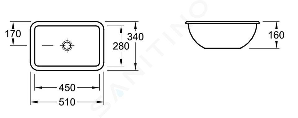 Villeroy & Boch Loop&Friends - Unterbauwaschtisch 450x280 mm,  ohne Überlauf, ohne Hahnloch, mit CeramicPlus, Alpinweiß 616310R1