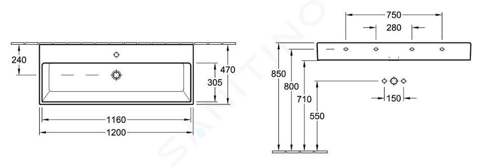 Villeroy & Boch Memento - Waschbecken, 1200 mm x 470 mm, Weiß - 1 Hahnloch, ohne Überlauf, mit CeramicPlus 5133C2R1