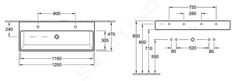 Villeroy & Boch Memento - Doppelwaschbecken 1200x470 mm, ohne Überlauf, 2 Hahnlöchern, CeramicPlus, Alpinweiß 5133CKR1