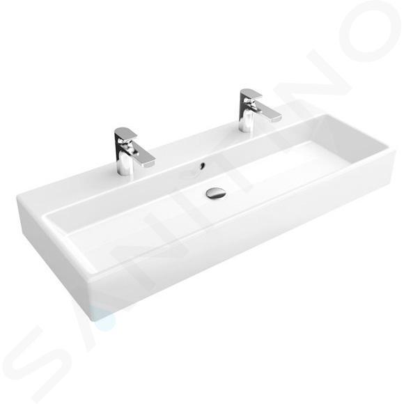Villeroy & Boch Memento - Doppelwaschbecken 1000x470 mm, ohne Überlauf, 2 Hahnlöchern, Alpinweiß 5133A401