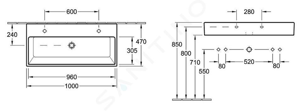 Villeroy & Boch Memento - Doppelwaschbecken 1000x470 mm, ohne Überlauf, 2 Hahnlöchern, Alpinweiß 5133A101