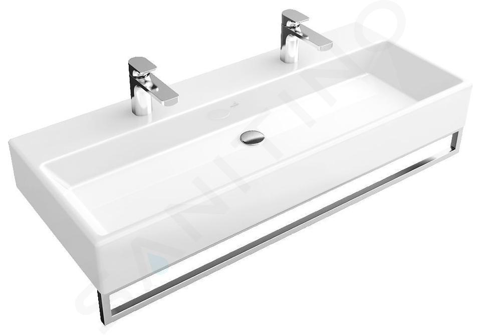 Villeroy & Boch Memento - Double vasque 1000x470 mm, sans trop-plein, 2 trous pour robinetterie, CeramicPlus, blanc alpin 5133A1R1