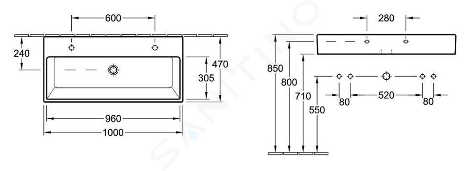 Villeroy & Boch Memento - Doppelwaschbecken 1000x470 mm, ohne Überlauf, 2 Hahnlöchern, CeramicPlus, Alpinweiß 5133AKR1