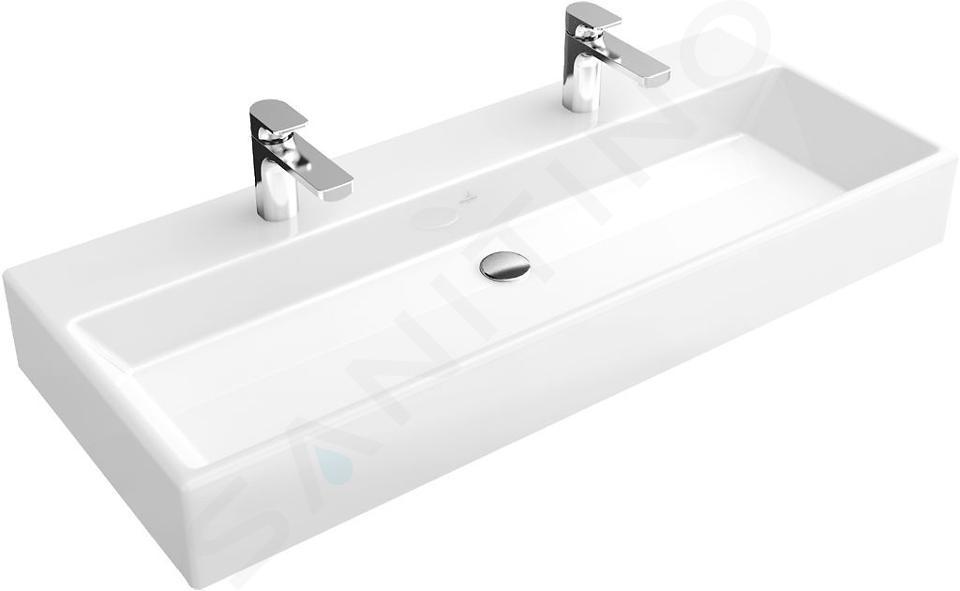 Villeroy & Boch Memento - Doppelwaschbecken 1000x470 mm, ohne Überlauf, 2 Hahnlöchern, CeramicPlus, Alpinweiß 5133AGR1